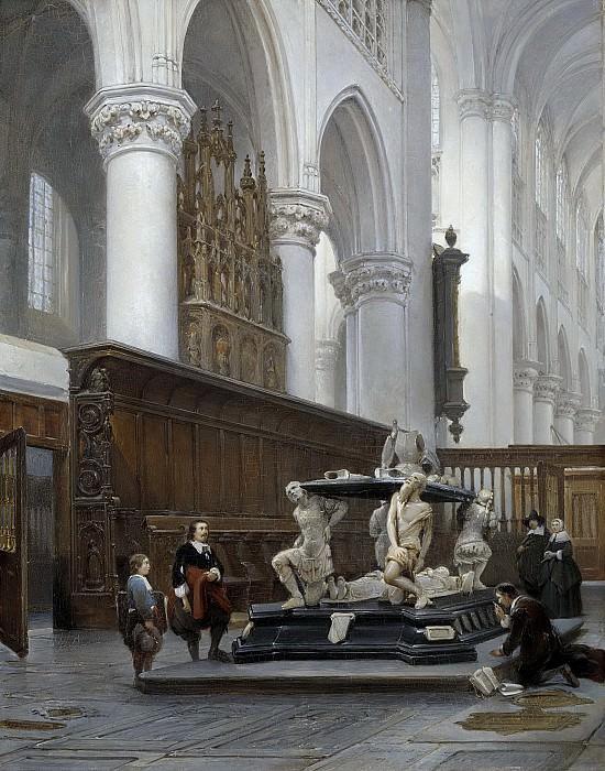 Bosboom, Johannes -- Het koor van de Onze Lieve Vrouwekerk te Breda met het grafmonument van Engelbert II van Nassau, 1843. Rijksmuseum: part 2