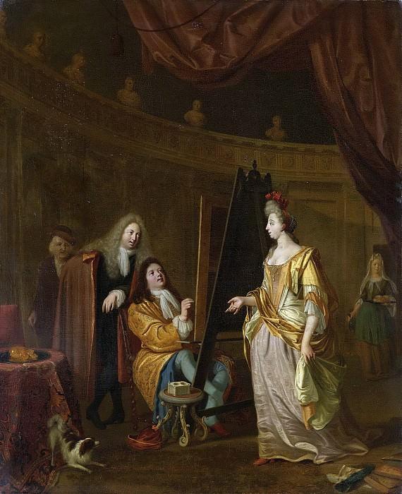 Bakhuysen, Ludolf -- Een schilder in zijn atelier, een dame portretterend., 1707. Rijksmuseum: part 2