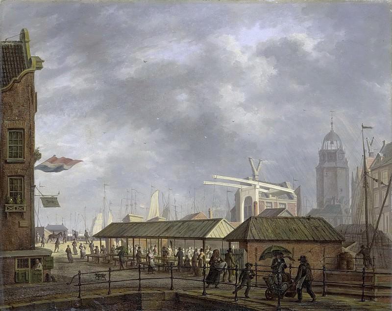 Йохан Йельгерхейс -- Малый рыбный рынок около места слияния Пивного и Обводного каналов в Амстердаме, 1826. Рейксмузеум: часть 2
