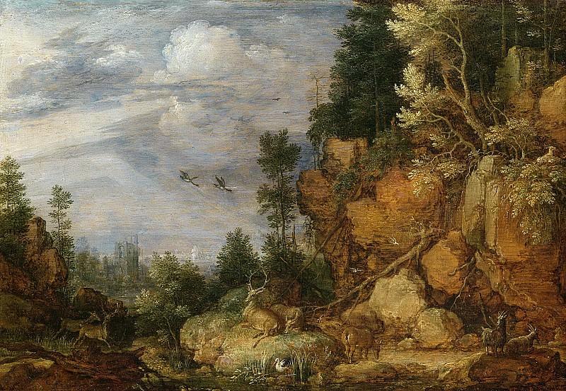Hondecoeter, Gillis Claesz. de -- Rotsachtig landschap met herten en geiten, 1620. Rijksmuseum: part 2