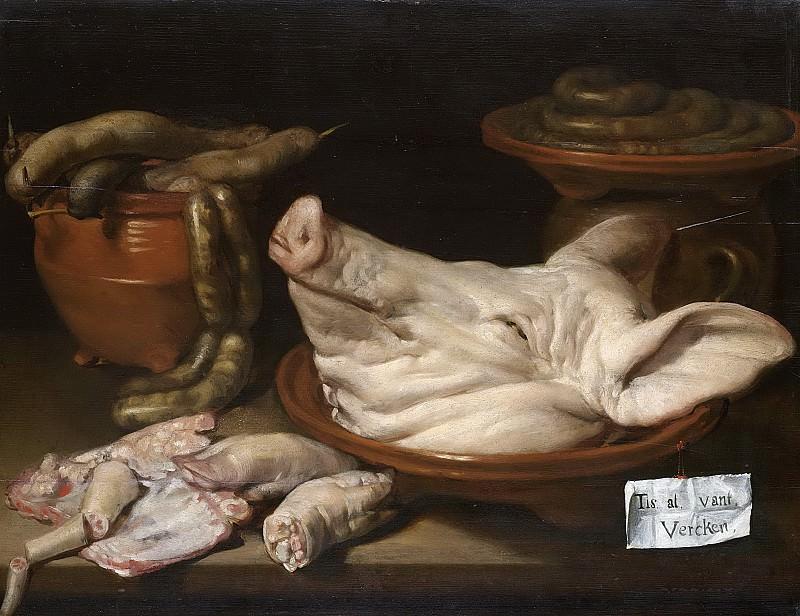 Monogrammist JVR -- Stilleven met varkenskop, varkenspootjes en worst, 1600-1650. Rijksmuseum: part 2