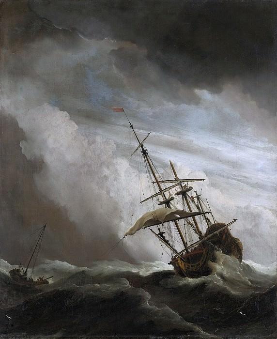 Velde, Willem van de (II) -- Een schip in volle zee bij vliegende storm, bekend als 'De windstoot, 1650-1707. Rijksmuseum: part 2
