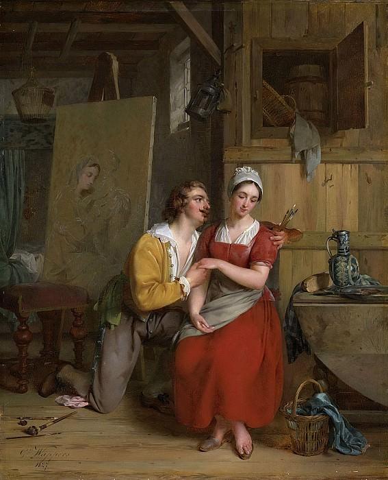 Wappers, Gustave -- Anthonie van Dijck verliefd op zijn model, 1827. Rijksmuseum: part 2