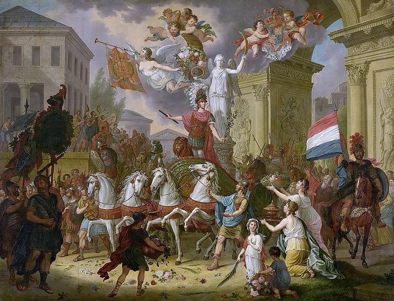 Корнелис ван Кейленбург (II) -- Аллегория триумфального проезда принца Оранского, впоследствии короля Вильгельма II, как героя битвы при Ватерлоо, 1815, 1815. Рейксмузеум: часть 2
