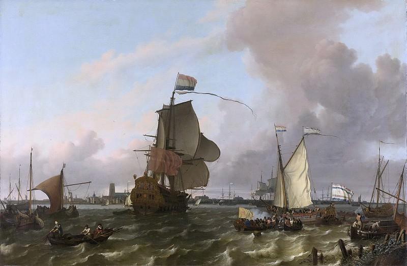 Бакхейзен, Людольф-- Военный корабль «Брилле» на Маасе у Роттердама, 1689. Рейксмузеум: часть 2