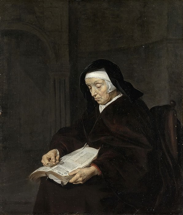 Metsu, Gabriël -- Oude vrouw in overpeinzing, 1660-1667. Rijksmuseum: part 2