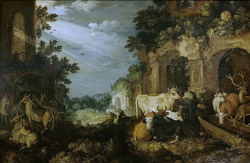 Savery, Roelant -- Landschap met ruïnes, vee en herten, 1614-1620. Rijksmuseum: part 2