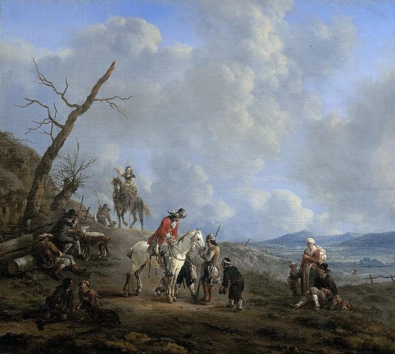 Lingelbach, Johannes -- Landschap met ruiters, jagers en landlieden, 1650-1674. Rijksmuseum: part 2