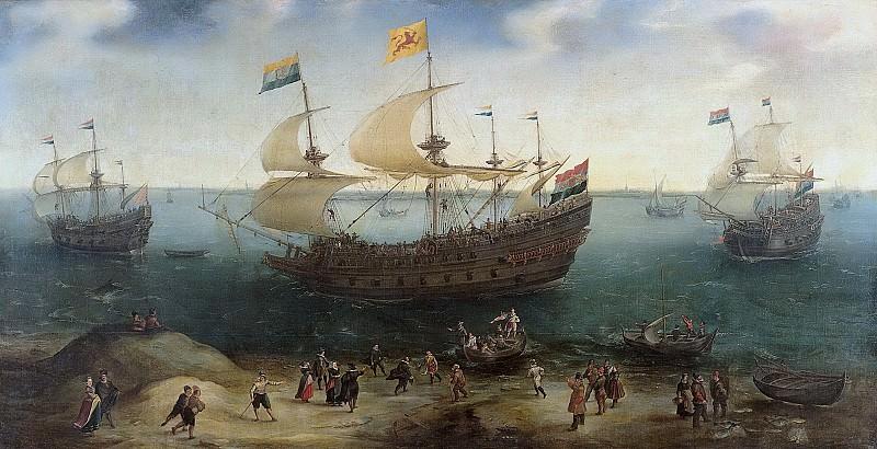 Vroom, Hendrik Cornelisz. -- De Amsterdamse viermaster 'De Hollandse Tuyn' en andere schepen na terugkeer uit Brazilië onder bevel van Paulus van Caerden, 1605-1640. Rijksmuseum: part 2