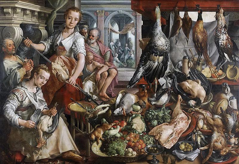 Beuckelaer, Joachim -- De welvoorziene keuken, met op de achtergrond Jezus bij Martha en Maria., 1566. Rijksmuseum: part 2