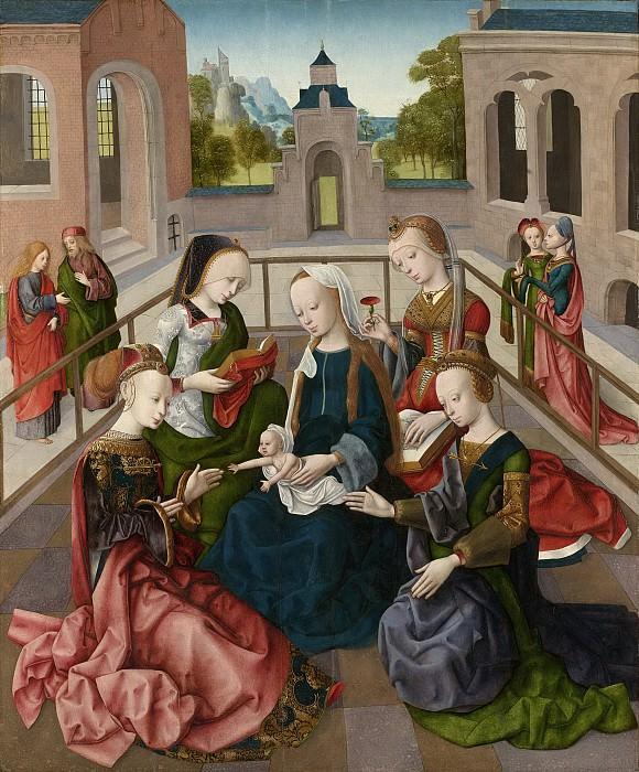 Meester van de Virgo inter Virgines -- Maria met kind met de heiligen Catharina, Cecilia, Barbara en Ursula, 1495-1500. Rijksmuseum: part 2