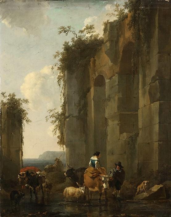 Николас Питерс Берхем -- Итальянские руины, 1658. Рейксмузеум: часть 2