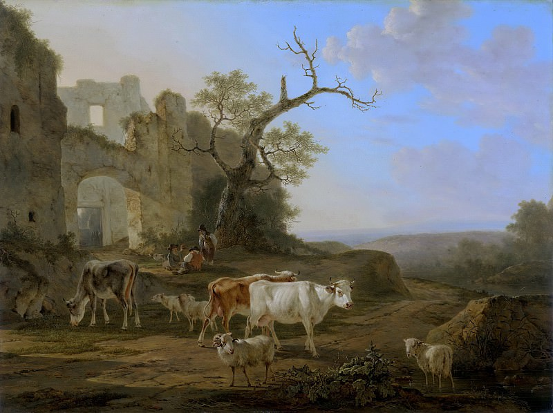 Якоб ван Стрей -- Скот у руин и пейзаж, 1800-1815. Рейксмузеум: часть 2