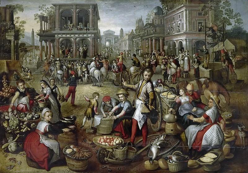 Beuckelaer, Joachim -- Marktplein, met op de achtergrond de geseling, Ecce homo en de kruisdraging., 1550-1590. Rijksmuseum: part 2