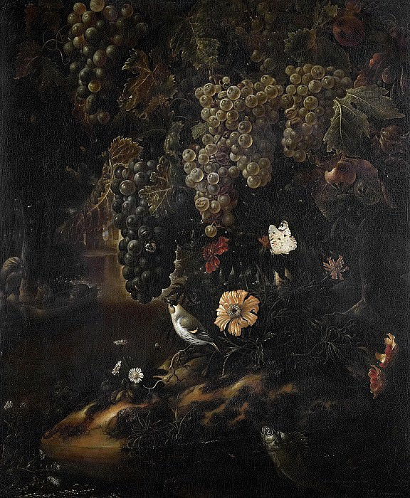 Исак Вроманс -- Гроздья винограда, цветы и мелкая живность, 1665-1719. Рейксмузеум: часть 2
