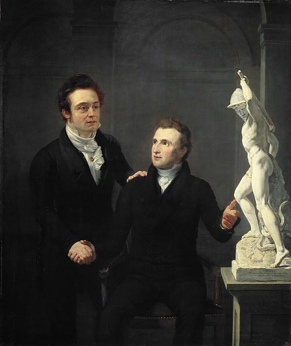 Pieneman, Jan Willem -- Louis Royer (1787-1868), beeldhouwer en Albertus Bernardus Roothaan (1793-1847), makelaar in effecten, kunstvriend en bevorderaar der wetenschappen, 1825. Rijksmuseum: part 2