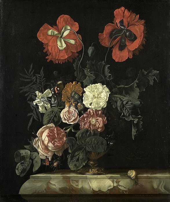 Николас Лахтропиус -- Натюрморт с цветами, 1667. Рейксмузеум: часть 2