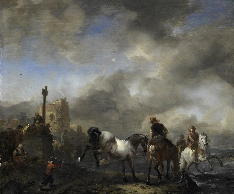 Wouwerman, Philips -- Paardenwed bij een grenspaal, 1650-1668. Rijksmuseum: part 2