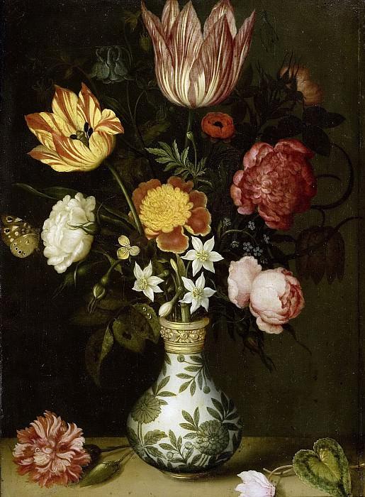 Амбросиус Боссхарт -- Натюрморт с цветами в вазе эпохи Ван-Ли, 1619. Рейксмузеум: часть 2