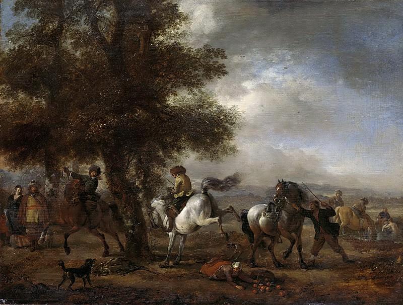 Филипс Воуверман -- Взбрыкивающая белая лошадь, 1650-1668. Рейксмузеум: часть 2