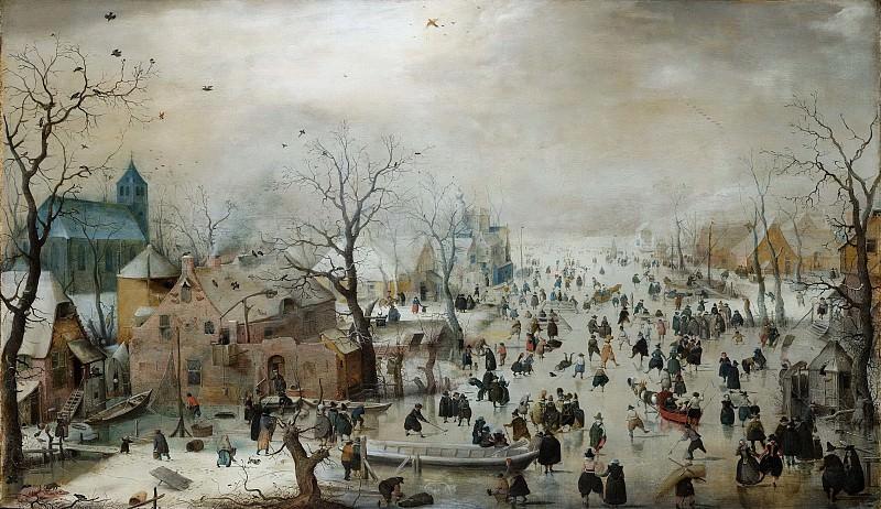 Хендрик Аверкамп -- Зимний пейзаж и конькобежцы, 1608. Рейксмузеум: часть 2