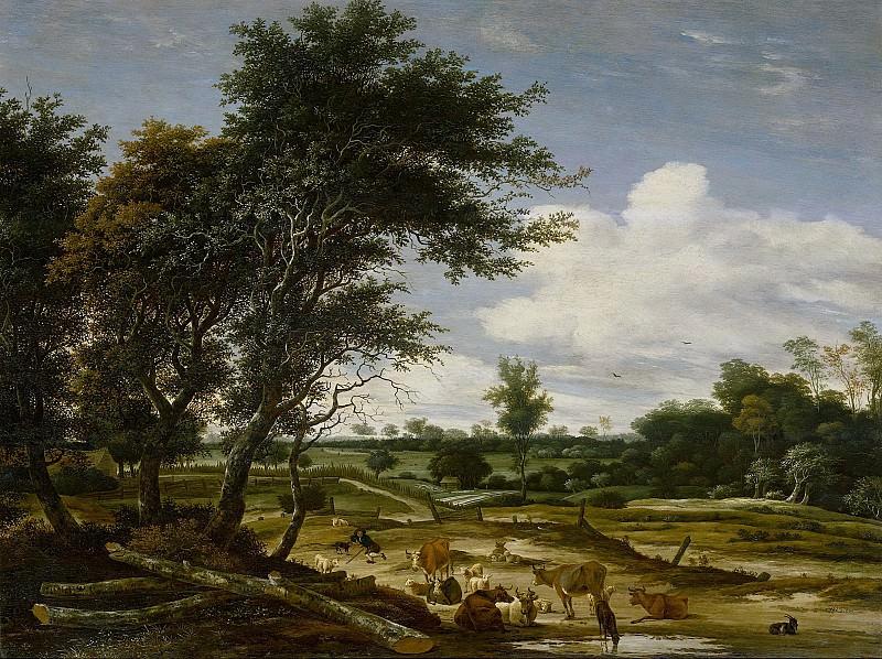 Ruysdael, Jacob Salomonsz. van -- Landschap met herder en vee, 1665. Rijksmuseum: part 2