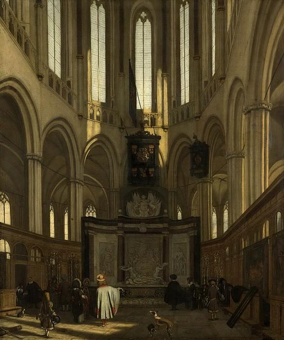 Witte, Emanuel de -- Het koor van de Nieuwe Kerk te Amsterdam met het praalgraf van Michiel de Ruyter, 1683. Rijksmuseum: part 2