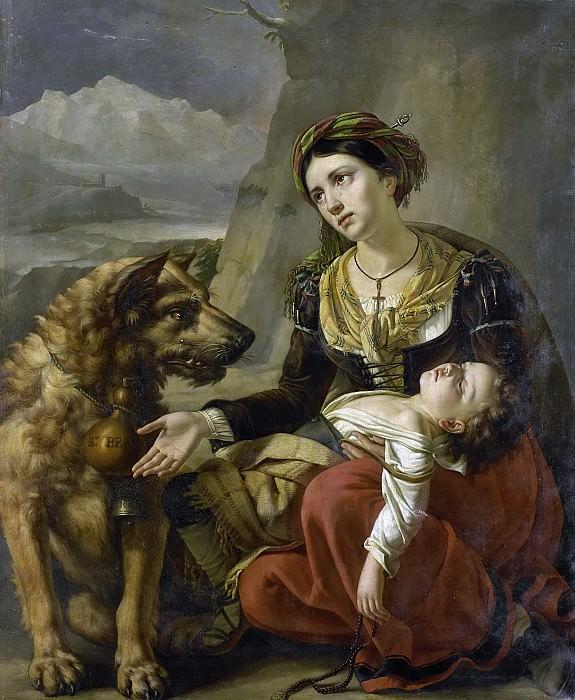 Picqué, Charles -- Een sint-bernardshond komt een verdwaalde vrouw met een ziek kind te hulp, 1827. Rijksmuseum: part 2