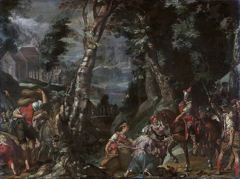 De ontmoeting tussen David en Abigail, 1597. Joachim Wtewael