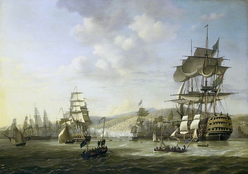 Baur, Nicolaas -- De Engels-Nederlandse vloot in de Baai van Algiers ter ondersteuning van het ultimatum tot vrijlating van blanke slaven, 26 augustus 1816., 1818. Rijksmuseum: part 2