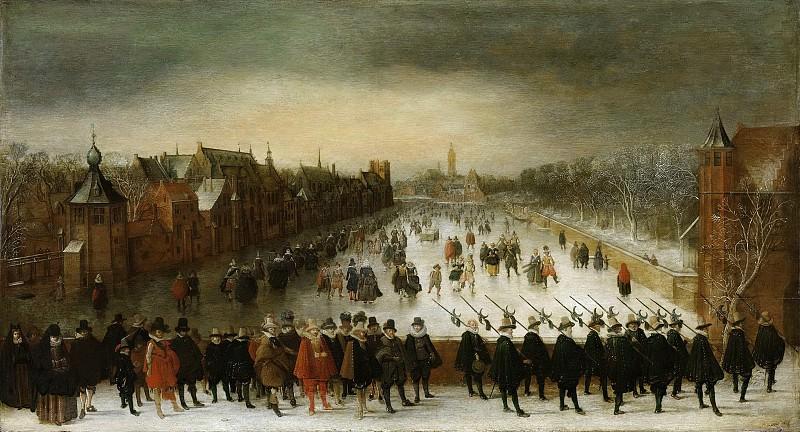 Breen, Adam van -- Wintergezicht op de Vijverberg te Den Haag met op de voorgrond prins Maurits en zijn gevolg, 1618. Rijksmuseum: part 2