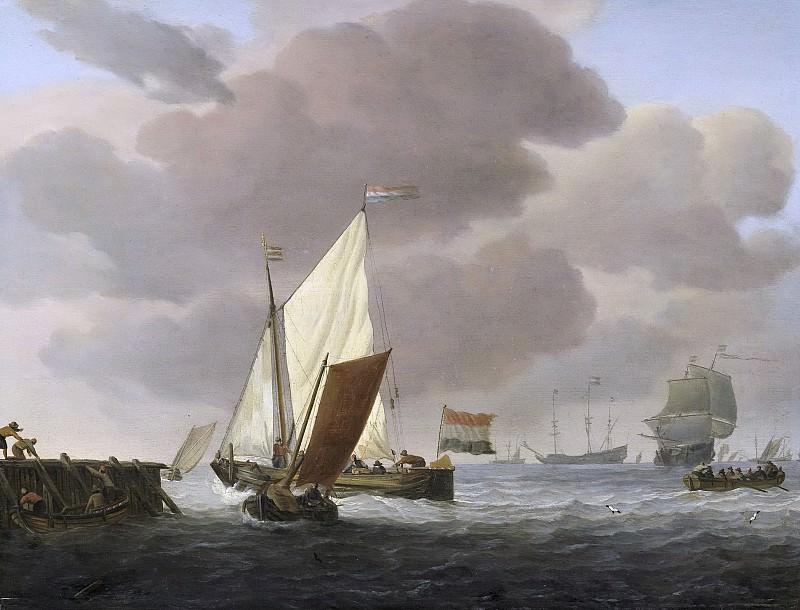 Velde, Willem van de (II) -- Schepen voor de kust bij flinke bries, 1650-1707. Rijksmuseum: part 2