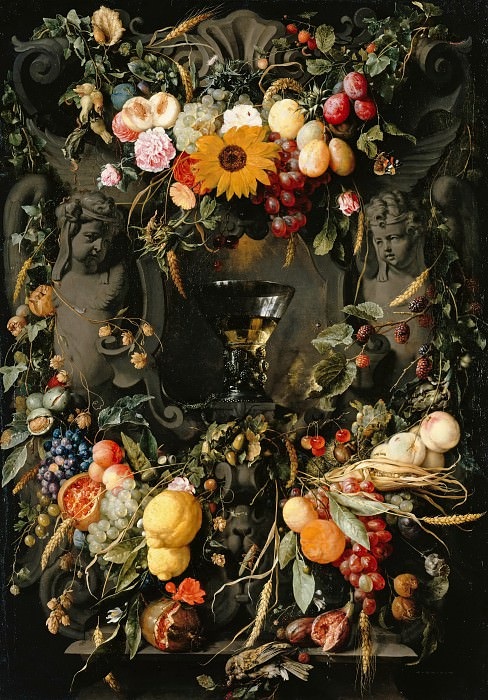 Jan Davidsz. de Heem (1606-1683-84) - Fruit and flower garlands with wine glass. Part 3
