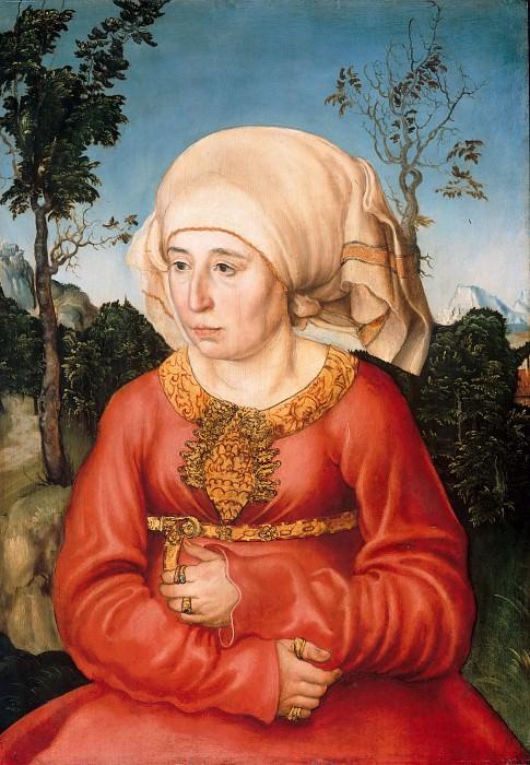 Lucas Cranach I (1472-1553) - Portrait of the wife of a doctor Johann Reiss. Part 3