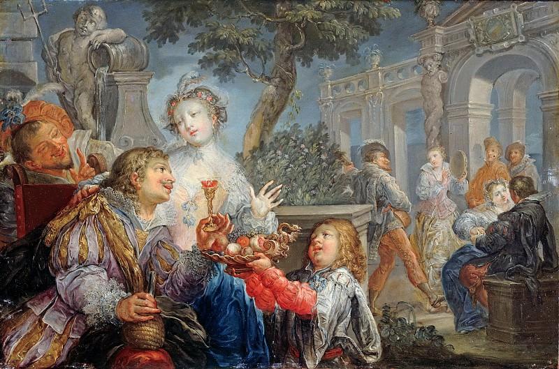 Платцер, Иоганн Георг (1704-1761) - Веселая компания на террасе. Часть 3