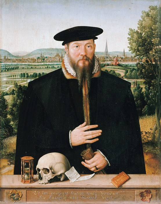 Ludger tom Ring I (1496-1547) - Portrait of Hermann Huddaeus front of a view of the city of Minden. Part 3