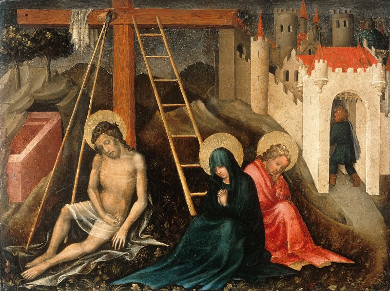 Master der Darbringung - Christ as Man of Sorrows with Mary and John at the Cross. Part 3