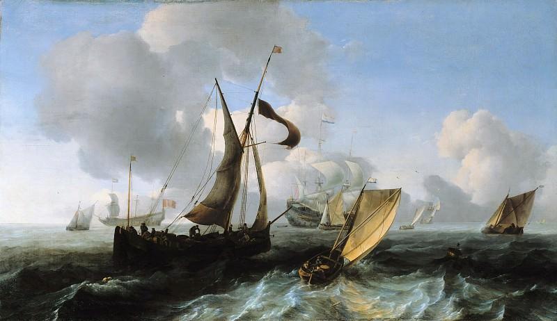 Ludolf Backhuysen (1630-1708) - Slightly choppy sea with ships. Part 3