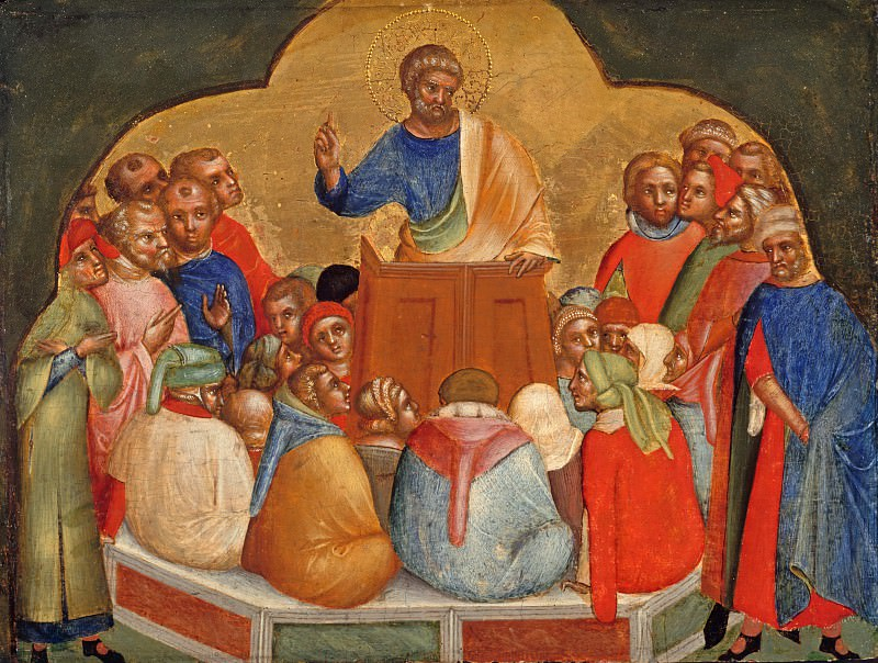 Lorenzo Veneziano (before1356-after1378) - Predella with scenes from the lives of the Apostles Peter and Paul - The apostle Peter preach. Part 3