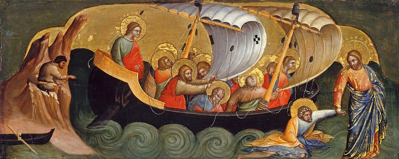Lorenzo Veneziano (before1356-after1378) - Predella with scenes from the lives of the Apostles Peter and Paul - Christ saved the sink in the water with him Peter. Part 3