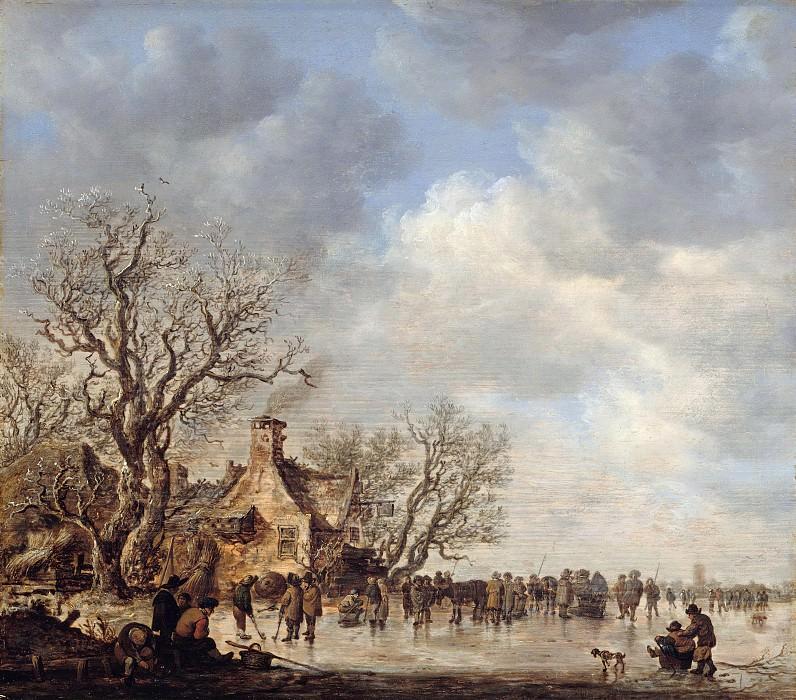 Jan van Goyen (1596-1656) - Ice pleasure in front of a tavern. Part 3