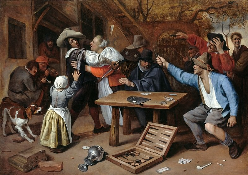 Jan Steen (1626-1679) - The dispute at cards. Part 3