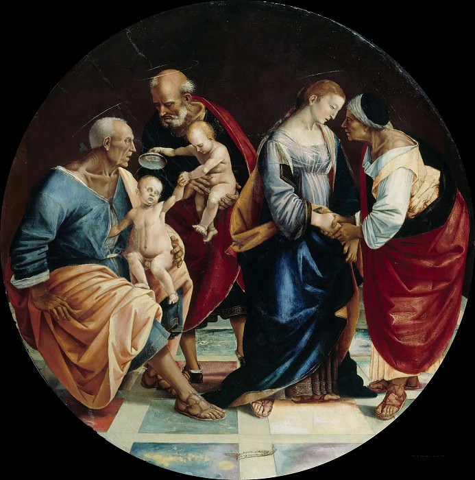 Luca Signorelli (c.1445-1523) - The Holy Family with Zachariah, Elizabeth and the infant Saint John. Part 3