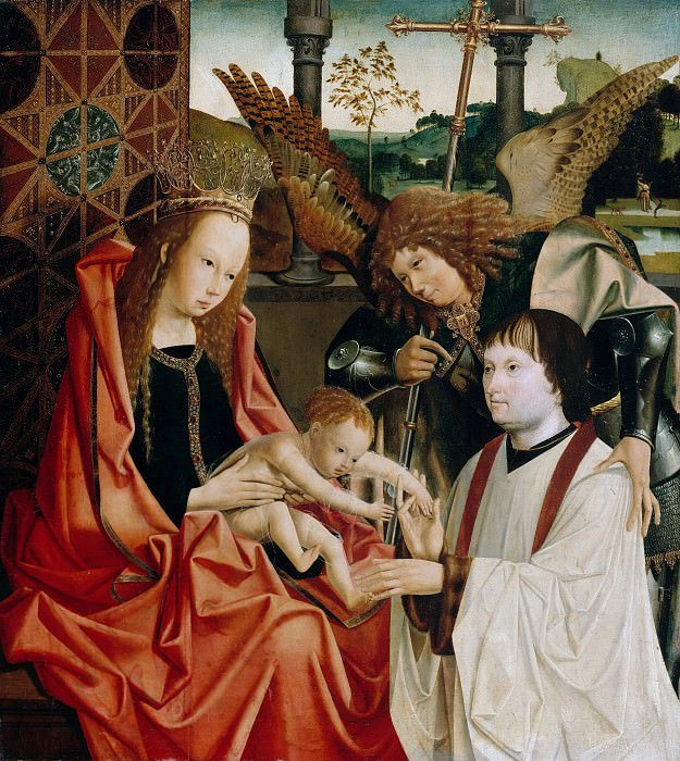 Master of Antwerp Marien triptych - Maria with the child, the Archangel Michael and a donor. Part 3