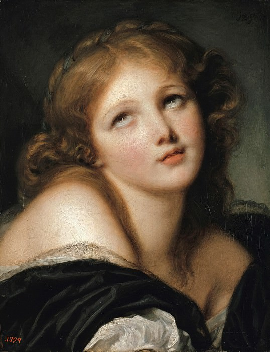 Jean Baptiste Greuze (1725-1805) - Head of a young girl. Part 3