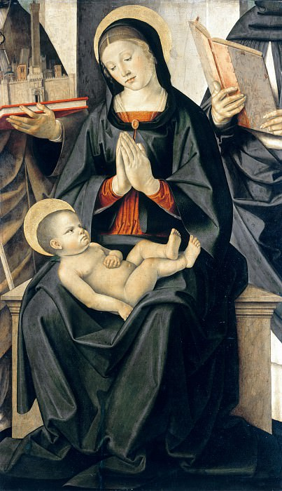 Marco Palmezzano (c.1459-c.1539) - Enthroned Madonna Adoring the Child with St Petronius and St Dominicans. Part 3