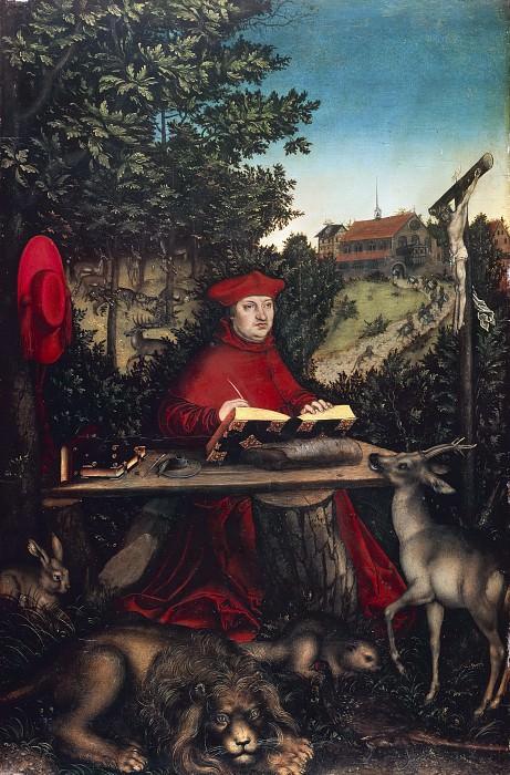Lucas Cranach I (1472-1553) - Cardinal Albrecht of Brandenburg as St Jerome. Part 3