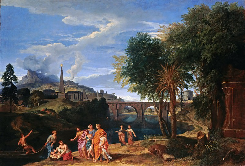 Jean-Francois Millet (1642-1679) - Roman landscape with finding of Moses. Part 3