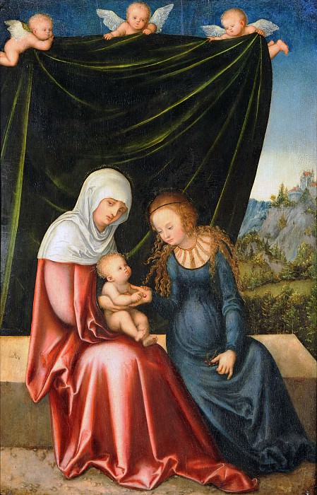 Lucas Cranach I (1472-1553) - The Virgin and Child with St Anne. Part 3