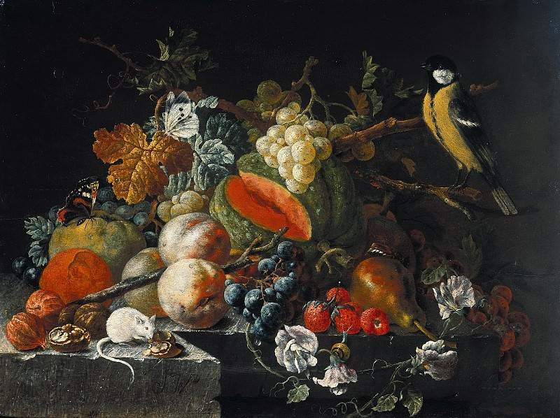 Johann Amandus Winck (c.1748-1817) - Still life with fruit, flowers and animals. Part 3